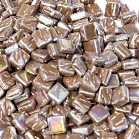 8mm Square Tiles - Chocolate Pearlised - 500g
